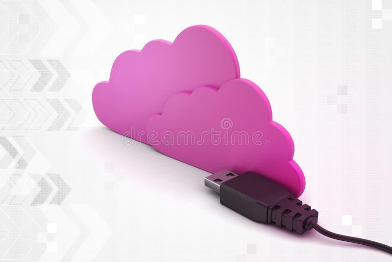 Wolkenconcept met codedraad royalty-vrije illustratie