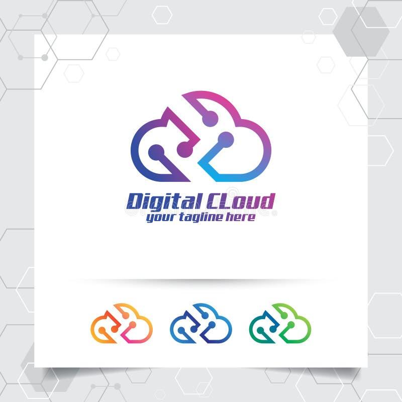 Wolkendatenlogo-Vektorentwurf mit Konzept der Wolke und des Technologiesymbols Wolkenvektorlogo f?r App, die Bewirtung, Server un vektor abbildung