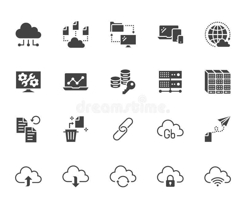 Wolkendatenspeicherung flacher Glyph-Ikonensatz Datenbank, Informationsspeicherung, Servermitte, globales Netzwerk, Unterstützung stock abbildung
