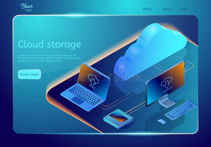 Wolkendatenspeicherung Vektorwebseitenschablone Isometrische Illustration, die Konzept des on-line-Datenhostings darstellt stock abbildung
