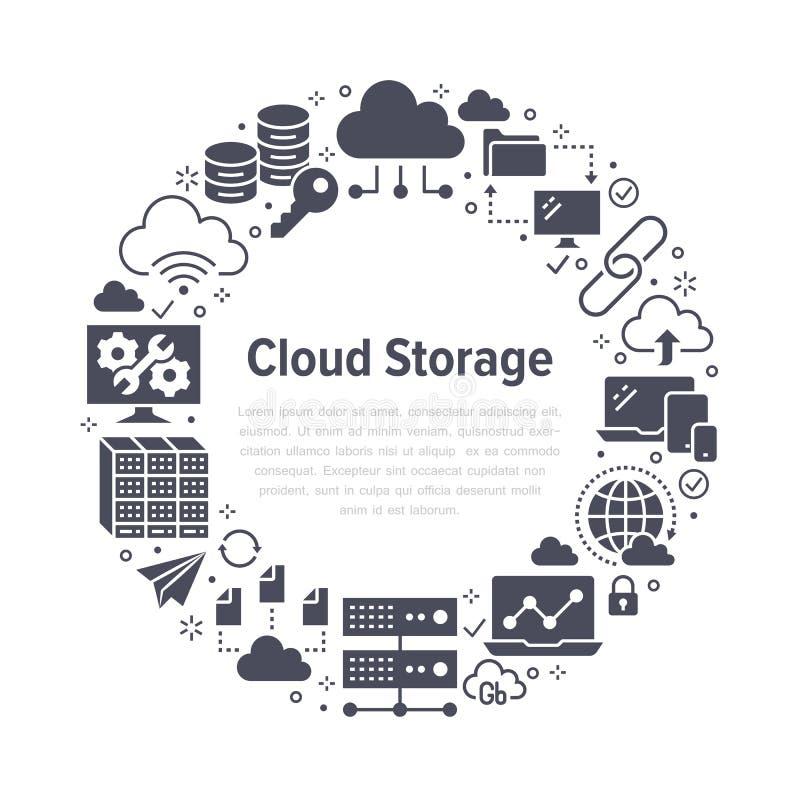 Wolkendatenspeicherungs-Kreisplakat mit flachen Glyphikonen Datenbankhintergrund, Informationen, Servermittelglobales netzwerk vektor abbildung