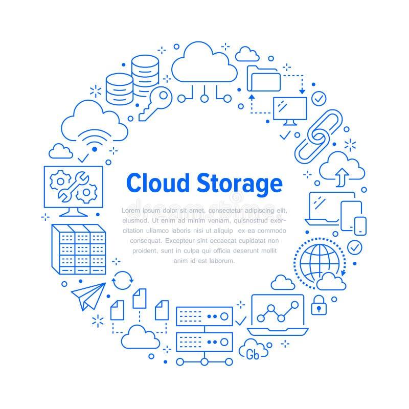 Wolkendatenspeicherungs-Kreisplakat mit Linie Ikonen Datenbankhintergrund, Informationen, Servermitte, globales Netzwerk lizenzfreie abbildung