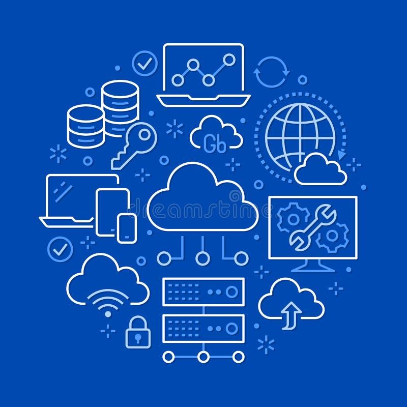 Wolkendatenspeicherungs-Kreisplakat mit Linie Ikonen Datenbankhintergrund, Informationen, Servermitte, globales Netzwerk vektor abbildung
