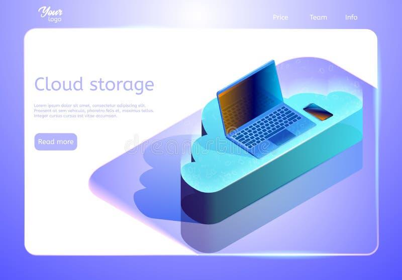 Wolkendatenspeicherungsabstrakter begriff Isometrische Webseitenschablone Vektorillustration, die Geräte auf der Wolke darstellt lizenzfreie abbildung