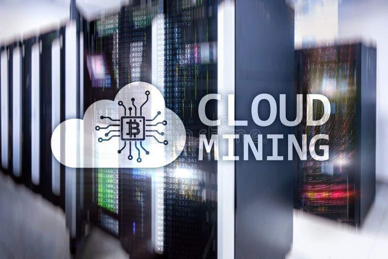 Wolkendatenverarbeitung, Daten oder cryptocurrency ( Bitcoin, Ethereum) Bergbau im Rechenzentrum Serverraumhintergrund stockfoto