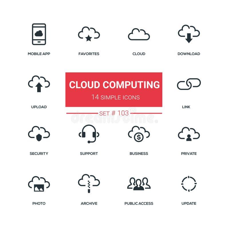 Wolkendatenverarbeitung - flache Designartikonen eingestellt lizenzfreie abbildung
