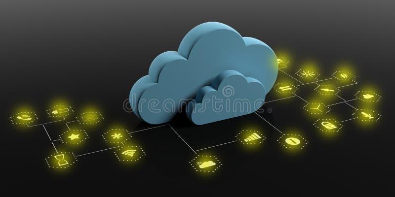 Wolkendatenverarbeitung und mobile Apps Blaue Wolken auf schwarzem Hintergrund Abbildung 3D vektor abbildung