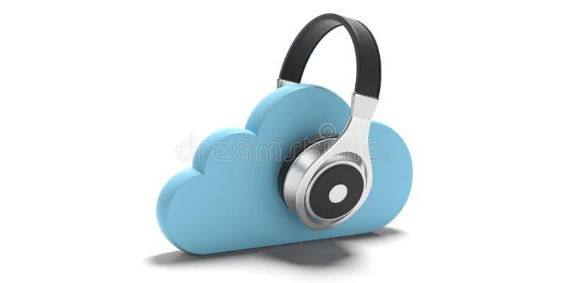 Wolkendatenverarbeitung und -musik Blaue Wolken und Kopfhörer lokalisiert auf weißem Hintergrund Abbildung 3D stock abbildung