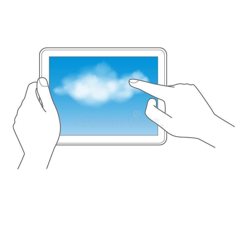 Wolkendatenverarbeitung- und -notenauflagekonzept lizenzfreie abbildung