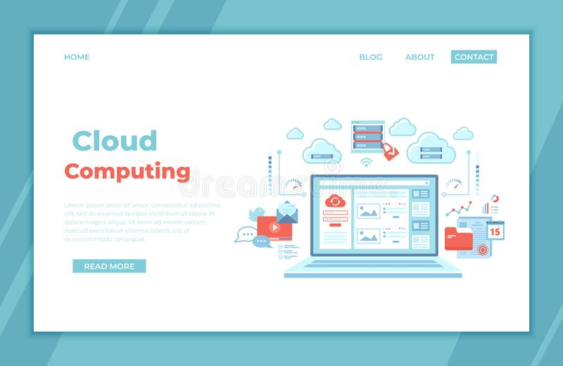 Wolkendatenverarbeitung und Webservices, Technologie, Datenspeicherung, bewirtend, Verbindung LOGON-Seite und -passwort auf Lapto lizenzfreie abbildung