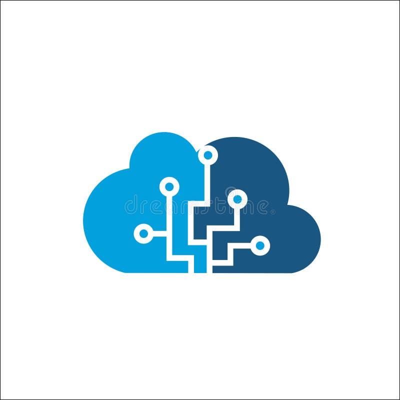 Wolkendatenverarbeitungs- und -speichervektorlogo Technologiedesignschablone lizenzfreie abbildung