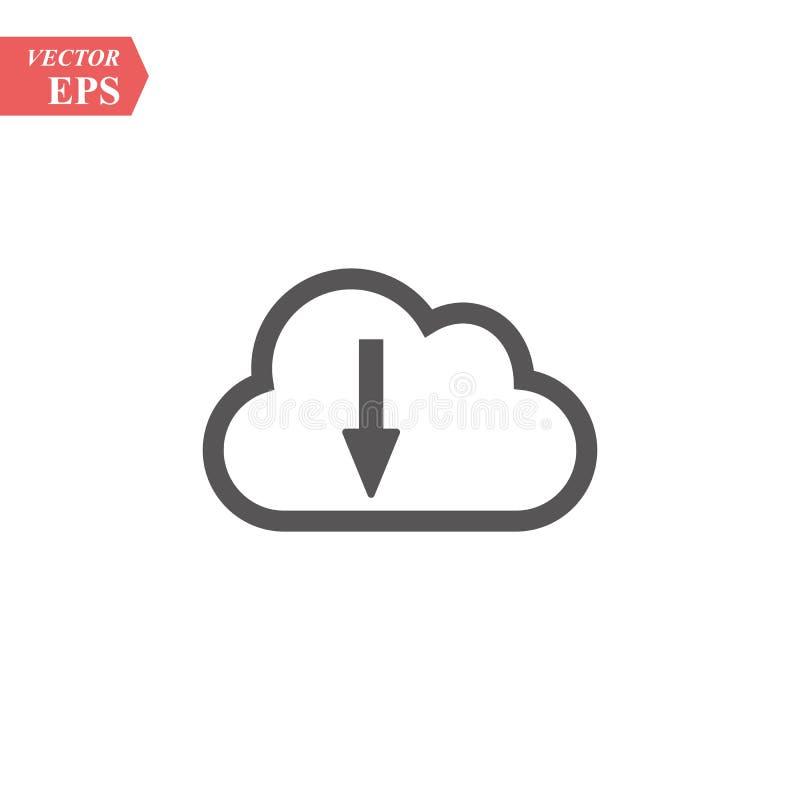Wolkendownload, lineair pictogram Één van een reeks lineaire Webpictogrammen vector illustratie