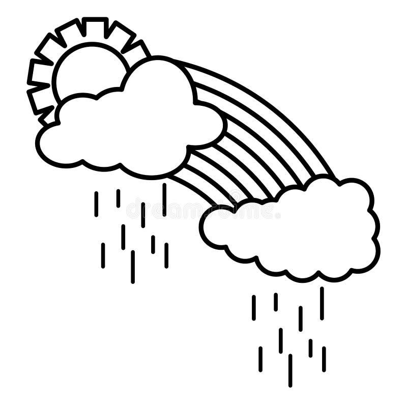 Wolkenhimmel regnerisch mit Sonnenwetter und -regenbogen vektor abbildung
