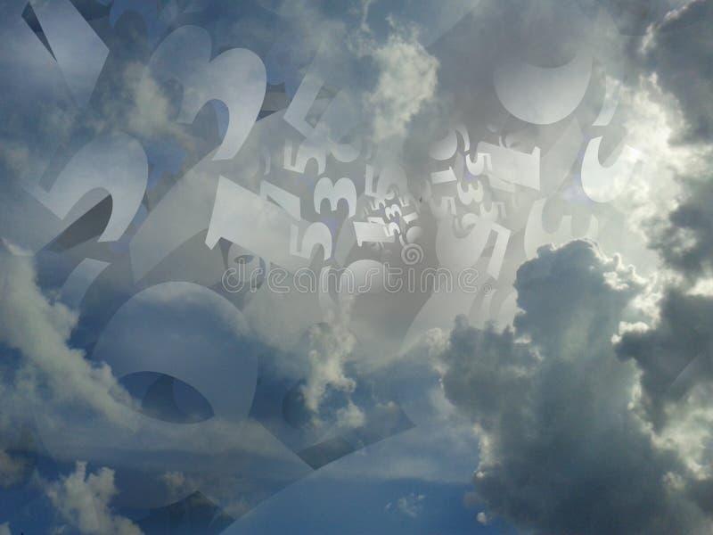 Wolkenhintergrundillustration der gelegentlichen Zahlen erzeugte stockfoto