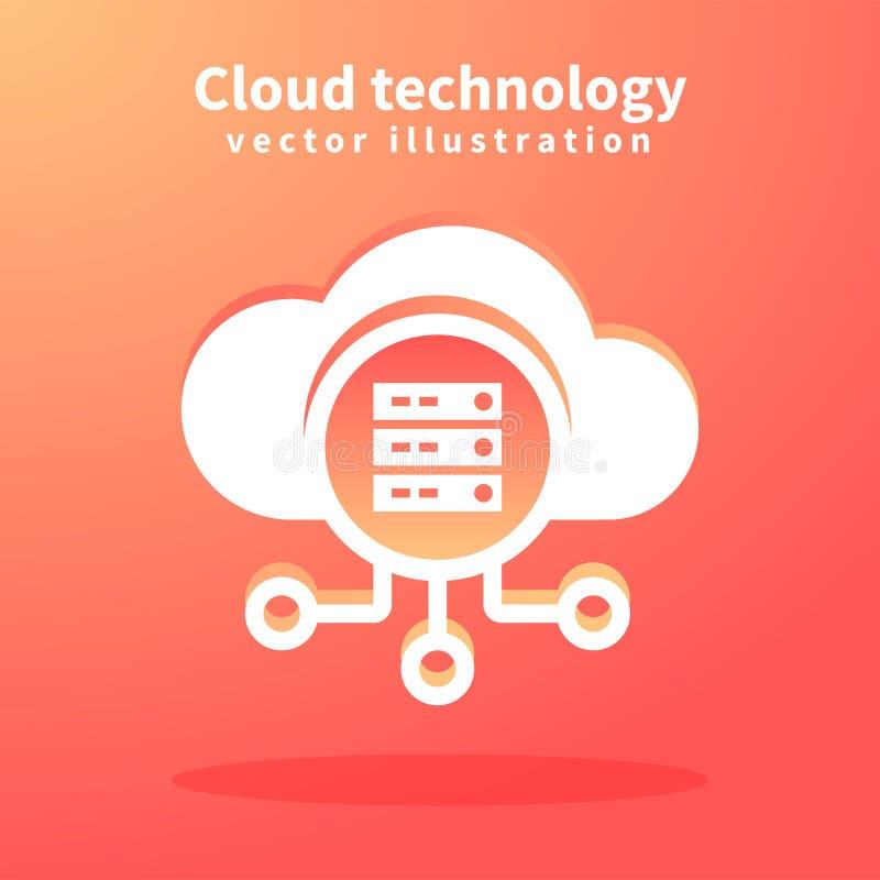 Wolkenikone, Vektorillustration für Webdesign Netztechniken, Wolken-Datenverarbeitungskonzept vektor abbildung