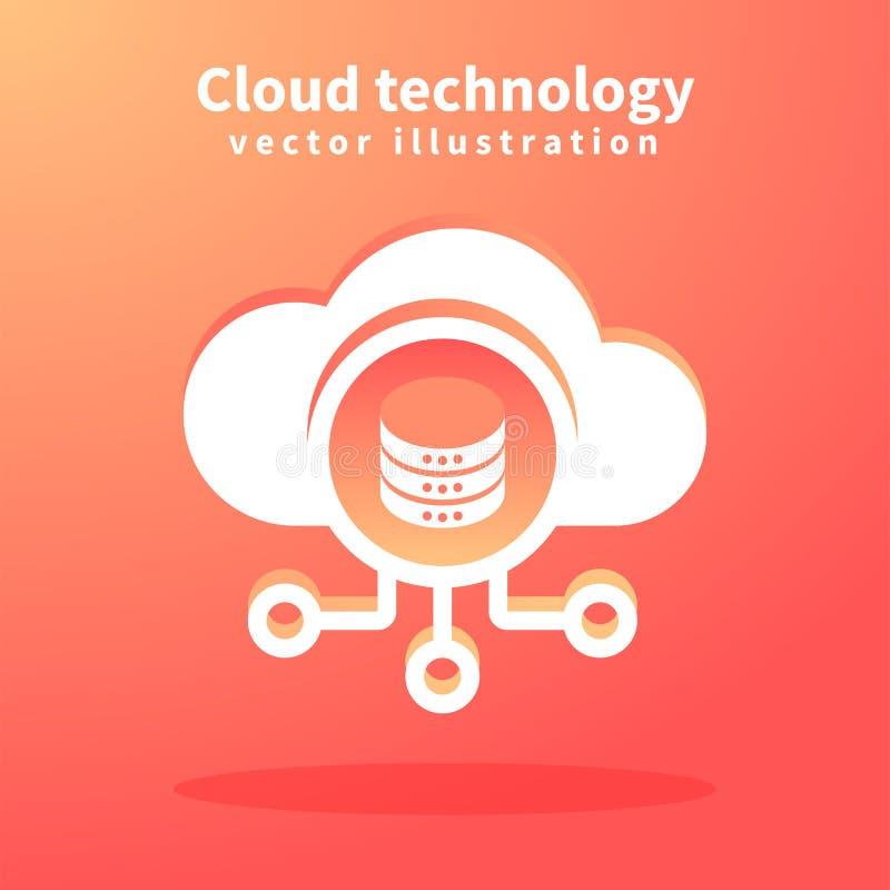 Wolkenikone, Vektorillustration für Webdesign Netztechniken, Wolken-Datenverarbeitungskonzept lizenzfreie abbildung