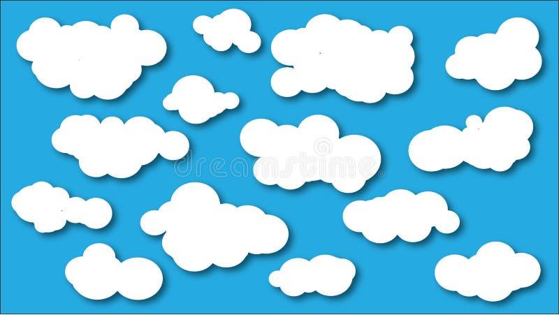 Wolkenikonensammlung Wolkenformen Vektor lizenzfreie abbildung