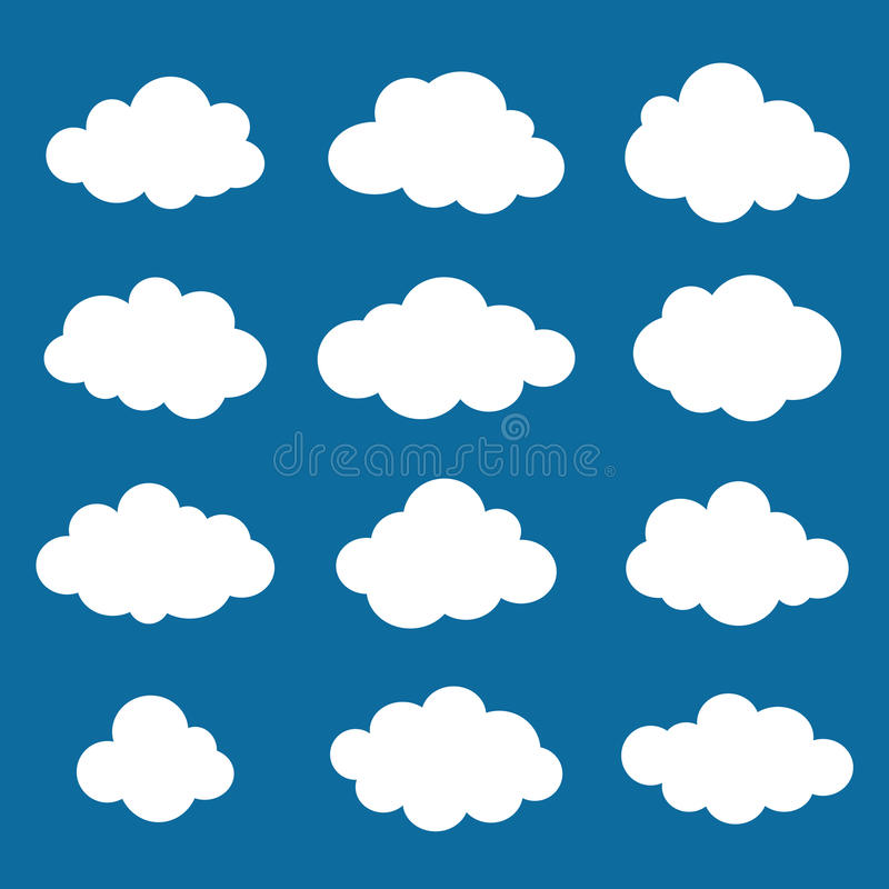 Wolkeninzameling. Het pak van wolkenvormen. Vector. vector illustratie