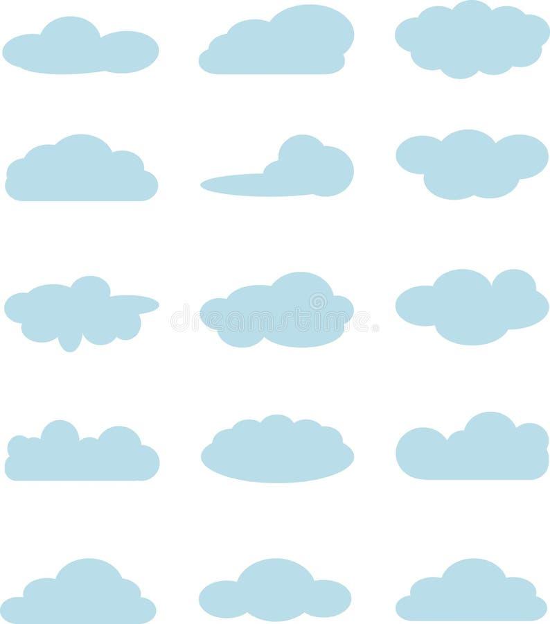 Wolkeninzameling, lichtblauwe wolken op wit Wolk gegevensverwerkingspak De elementen van het ontwerp stock illustratie