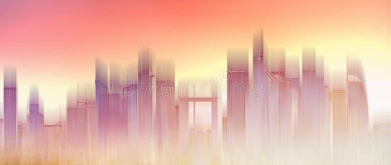 Wolkenkrabber de horizon van de de bouwstad, het gloeien zonsonderganglicht Abstracte stadsachtergrond royalty-vrije stock foto