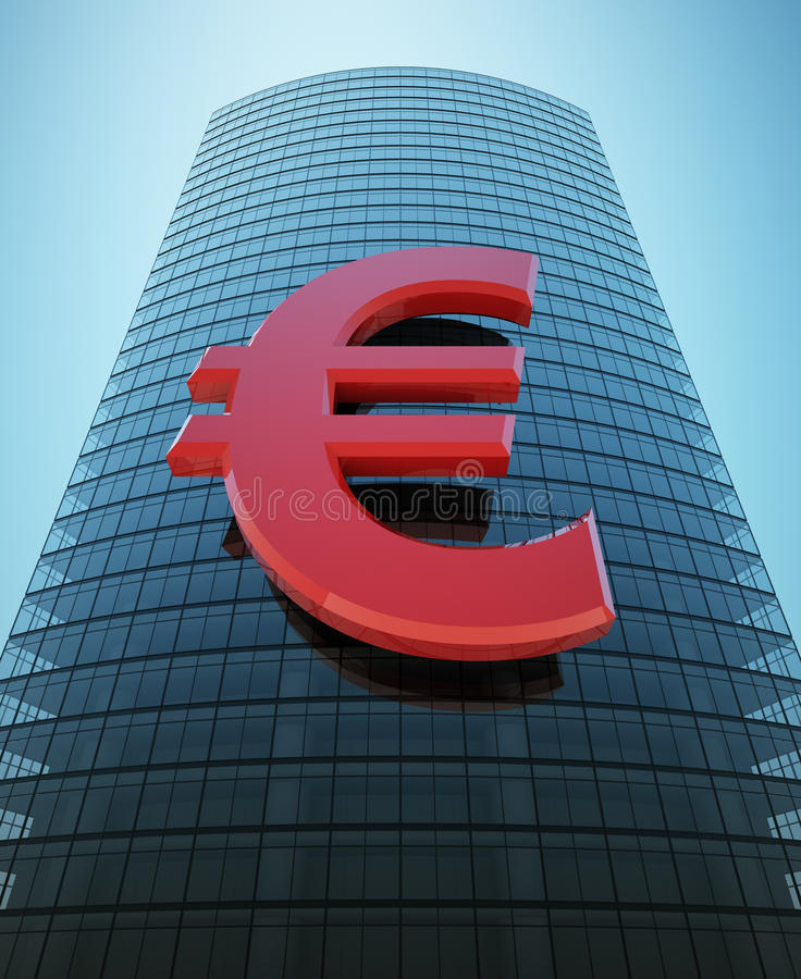 Wolkenkrabber met rood euro teken royalty-vrije illustratie