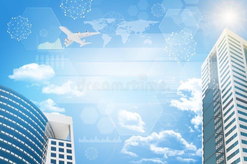 Wolkenkrabber met straal royalty-vrije illustratie