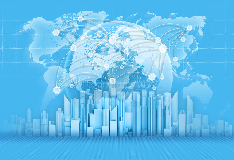 Wolkenkrabbers, bol en wereldkaart op blauw stock illustratie