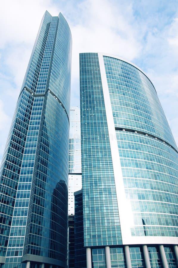 Wolkenkrabbers, commercieel centrum in megalopolis royalty-vrije stock afbeeldingen