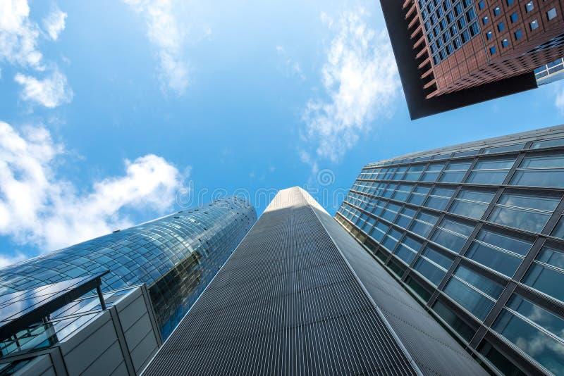 Wolkenkrabbers in de stad van Frankfurt stock afbeeldingen