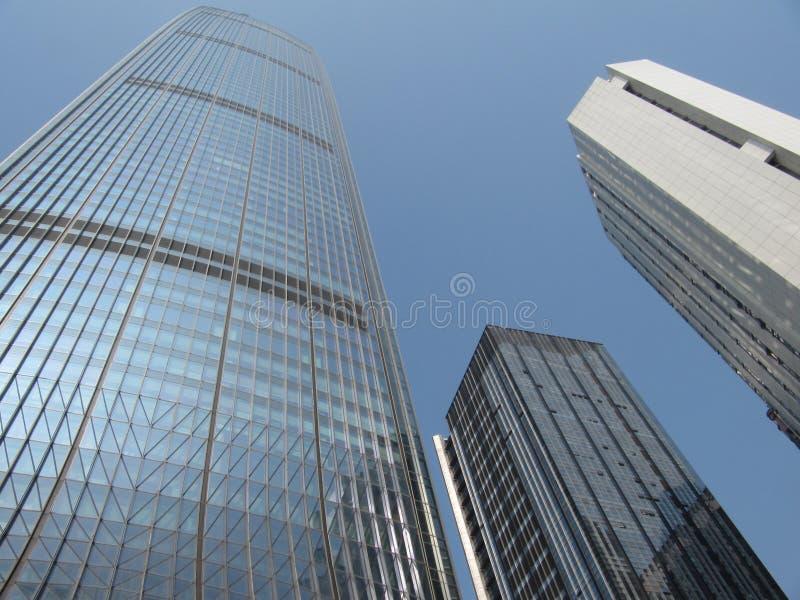 Wolkenkrabbers in het centrum van de Chinese stad Shenzhen stock afbeelding