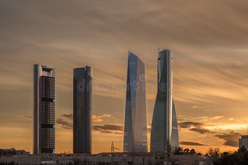 Wolkenkrabbers in Madrid stock afbeelding
