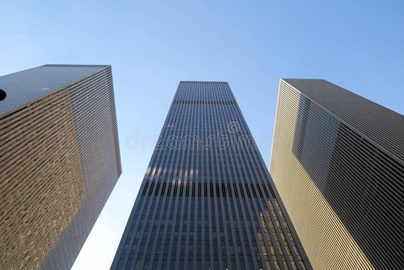 Wolkenkrabbers in Manhattan, New York stock foto's