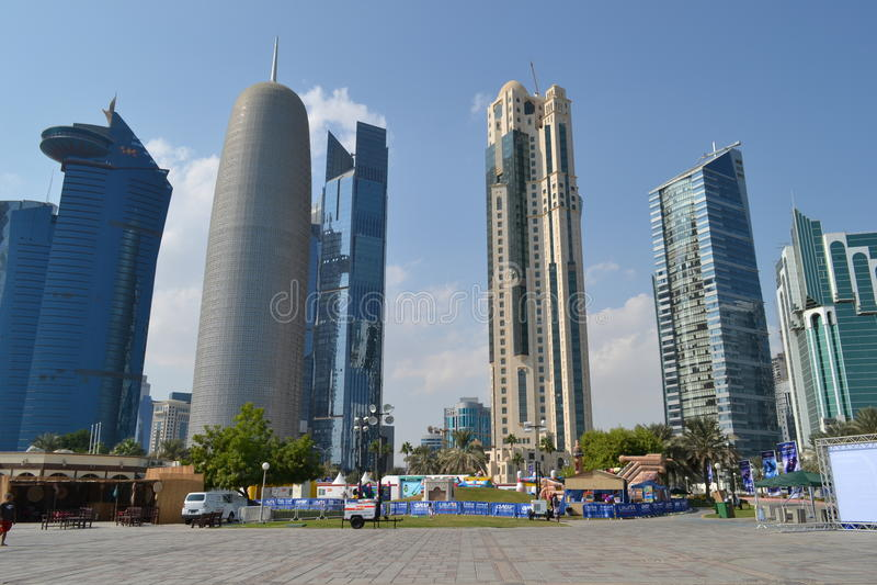 Wolkenkrabbers, Qatar stock afbeelding