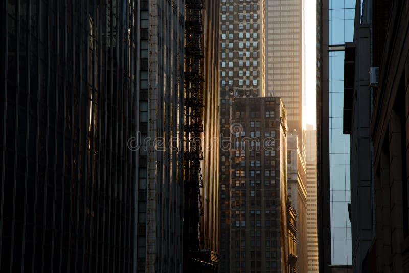 Wolkenkrabbers Steet bij Zonsondergang, Chicago de stad in royalty-vrije stock afbeelding