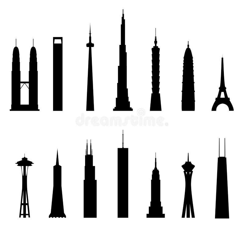 Wolkenkrabbers, structuren stock illustratie