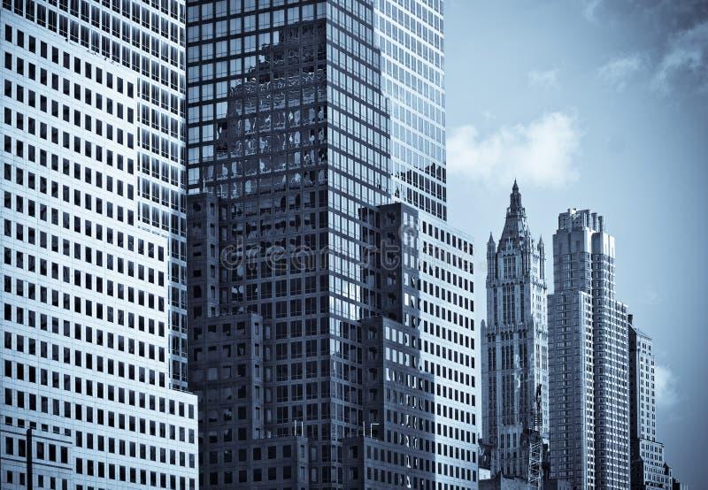Wolkenkrabbers van Manhattan royalty-vrije stock foto's