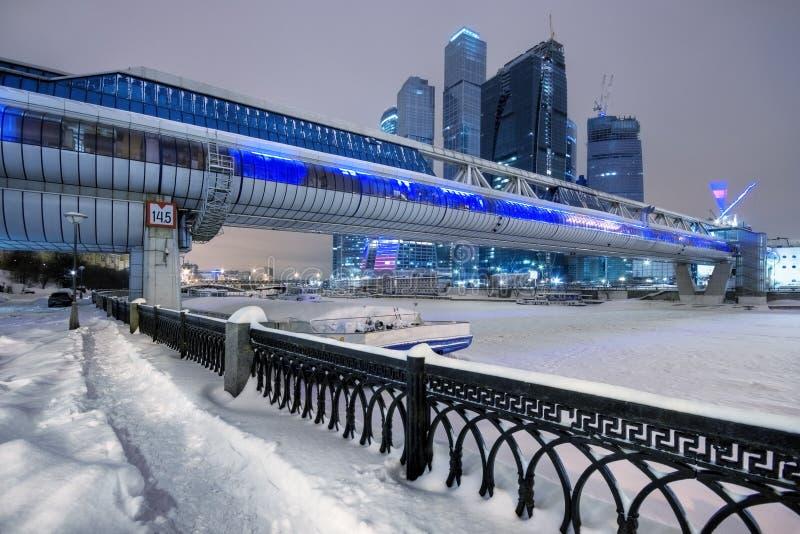 Wolkenkrabbers van Moskou in de winter royalty-vrije stock afbeeldingen