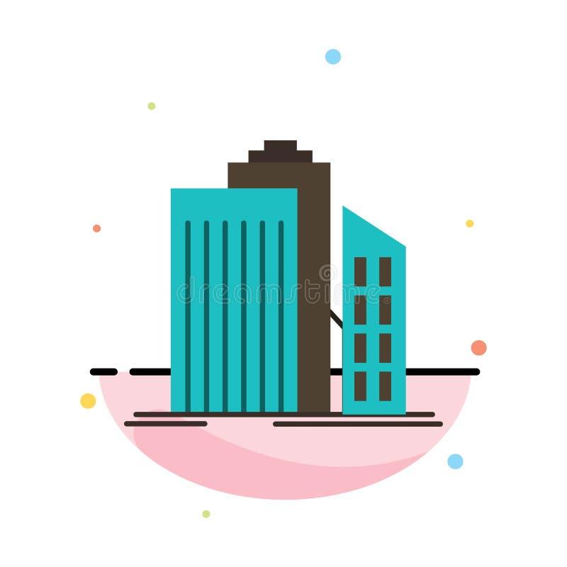 Wolkenkratzer, Architektur, Gebäude, Geschäft, Büro, Real Estate-Zusammenfassungs-flache Farbikonen-Schablone lizenzfreie abbildung