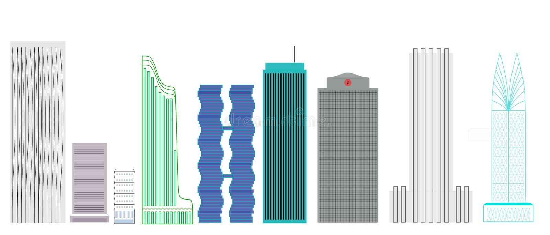 Wolkenkratzer-Designe lizenzfreie stockfotografie