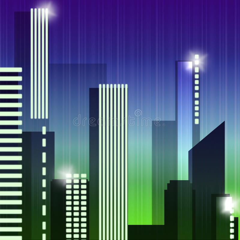 Wolkenkratzer-Gebäude-Durchschnitte, die Illustration des Stadtbild-3d errichten lizenzfreie abbildung