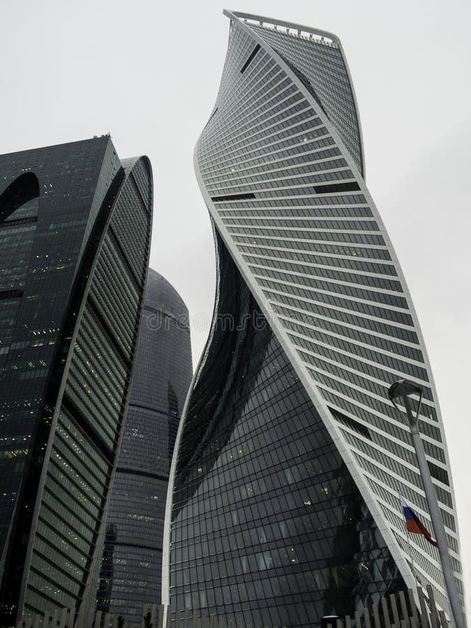 Wolkenkratzer mit Glasfassaden Außenentwurf der abstrakten modernen Gebäude lizenzfreie stockbilder