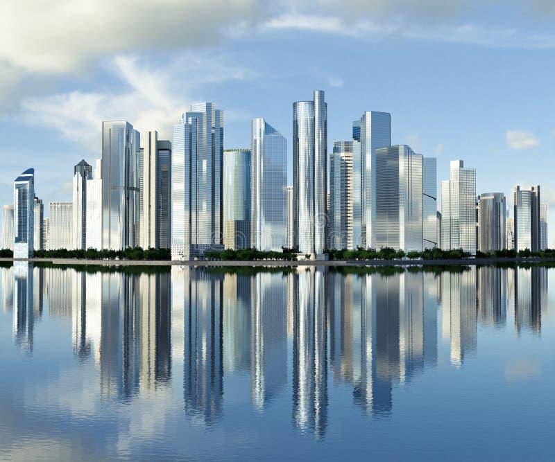 Wolkenkratzer-Skyline ein reflektiert stock abbildung