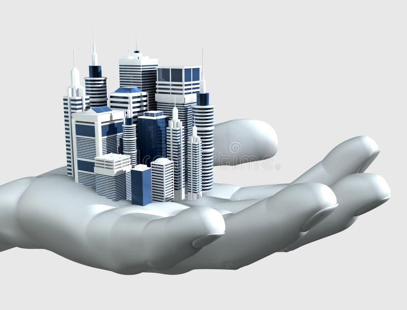 Wolkenkratzer-Stadt in der Palme einer Hand vektor abbildung