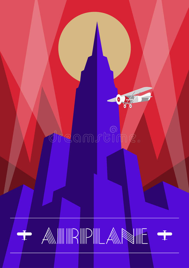 Wolkenkratzer- und Flugzeugplakat in der Art- DecoArt Weinlesereiseillustration vektor abbildung