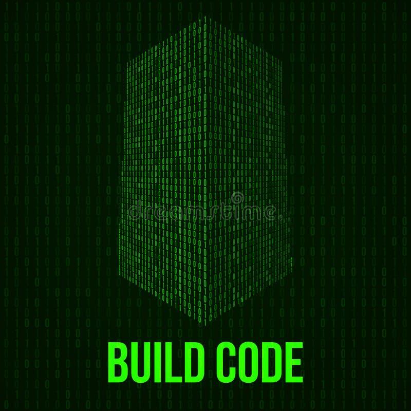 Wolkenkratzercode Binäre digitale Form des futuristischen Stadtgebäudes stock abbildung