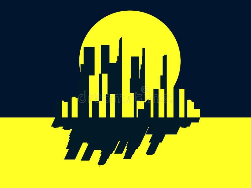 Wolkenkratzernacht Panorama von einer Großstadt im Retrostil Gelb mit Schwarzem Noir Vektor lizenzfreie abbildung
