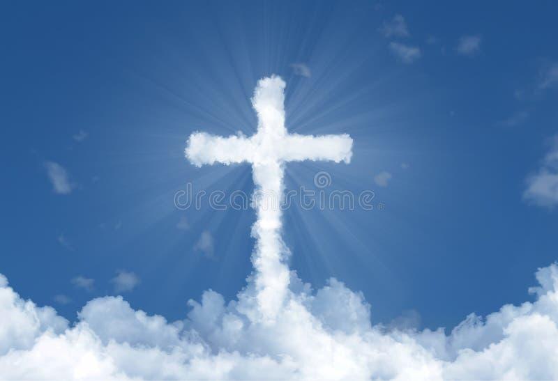 Wolkenkruis in hemel stock fotografie