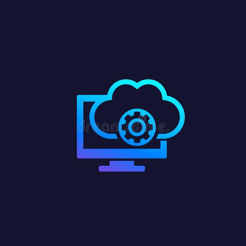 Wolkenlösungen, Fernzugriff-Software-Ikone lizenzfreie abbildung