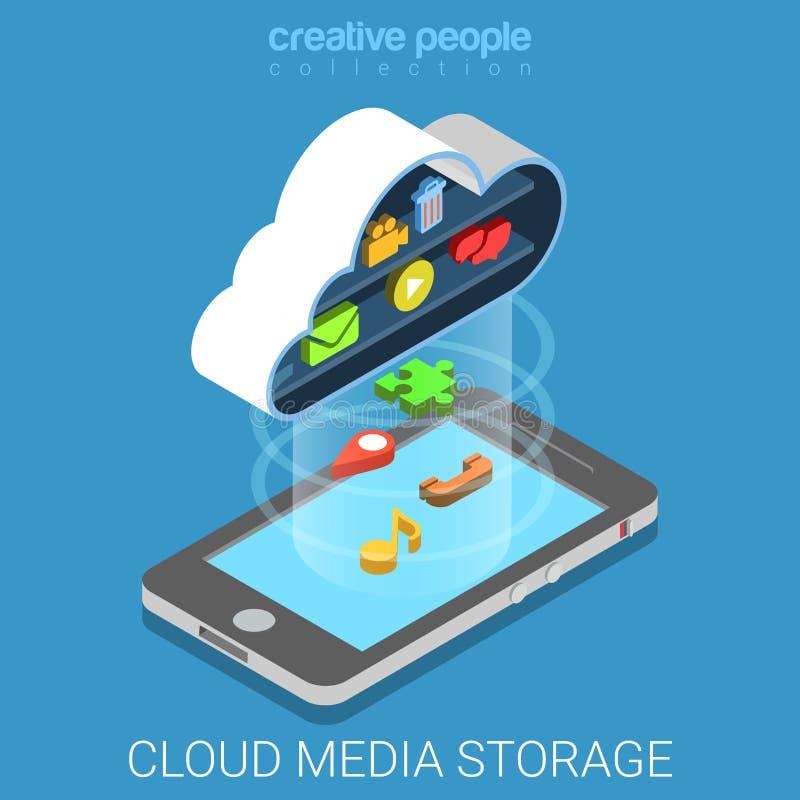 Wolkenmedia reserve de telefoon vlak 3d isometrische vector van de gegevensopslag vector illustratie
