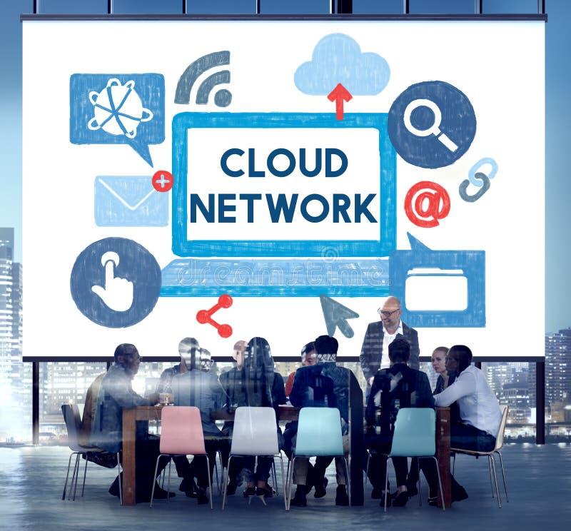 Wolkennetwerk Dara Information Storage Sharing Technology Concep royalty-vrije stock foto's